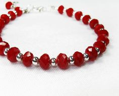 Red Swarovski Beaded Bracelet - Red and Silver Plated Beads