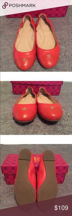 Tory Burch York red/orange flats w/ box 7.5 Nice preloved. Just light wear - no flaws to note. Come with box no bag. Fit TYS in my opinion. FIRM PRICE NO NEGOTIATIONS. Tory Burch Shoes Flats & Loafers