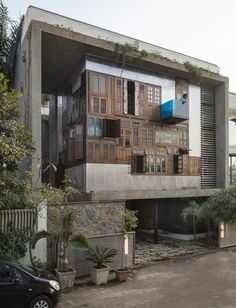 Collage House: Reclaimed Doors and Windows Beautify Modern Facade Architecture Durable, Art Et Architecture, Sustainable Architecture, Pavilion Architecture, Amazing Architecture, Architecture Details, Design Exterior, Facade Design, House Design
