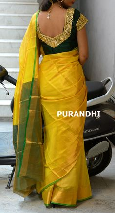 Yellow and Bottle green uppada tissue saree. For more details please contact us on whats app : 9247111365 Pattu Saree Blouse Designs, Half Saree Designs, Blouse Designs Silk, Dress Neck Designs, Blouse Patterns, Saree Models, Blouse Models, Saree Trends, Elegant Saree