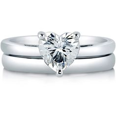 BERRICLE BERRICLE Sterling Silver Heart Shaped Cubic Zirconia CZ Solitaire Engagement Wedding Bridal Ring Set