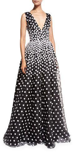 Oscar de la Renta Sleeveless V-Neck Gown w/Floral-Embroidered Overlay, Black/White