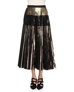 Lightweight+Cloque+Pleated+Midi+Skirt,+Silver/Black+by+Proenza+Schouler+at+Bergdorf+Goodman.