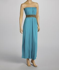 This Turquoise Embellished Strapless Maxi Dress - Women by VELZERA is perfect! #zulilyfinds