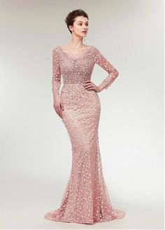 5b65a71d779 Buy discount Stunning Lace Scoop Neckline Long Sleeves Mermaid Evening Dress  With Beadings at Dressilyme.