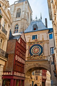 Guided Tours to France. Half-Timbered Houses and Great Clock at Rouen, Normandy Monet, Oh The Places You'll Go, Places To Travel, Honfleur, Normandy France, Provence France, Amiens, France Photos, French Countryside