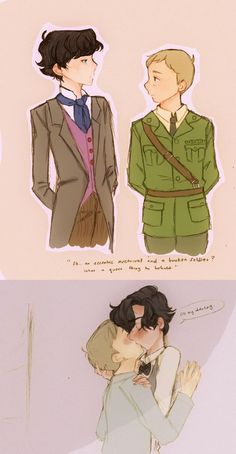 """john is an injured soldier in ww2 and got shipped off to the holmes estate which has been turned into a convalescent home for broken soldiers. there, he met sherlock, the young heir to the estate and of course they hit it off like bububu look they're secretly kissing in the hallway."" // Concept and art by darlingbenny. // God, I love this.:"