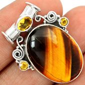 Tiger Eye 925 Sterling Silver Pendant Jewelry TEYP898