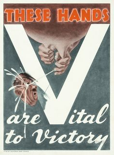 """Slogan """"These hands are vital to victory"""" showing hands squirting milk right back at Hitler's head. Created in 1943 as a color poster for the California Dairy Council. Original poster 35x27 cm."""