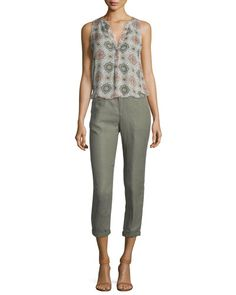 Joie  Aruna Tile Printed Silk Top Enna Cropped Pants. $New Joie Pants. Regular Price $188, See New offer At: shop. newofferclothing.com<<< #Joie-Pants Joie Clothing, Printed Silk, Silk Top, Cropped Pants, New Fashion, Tile, Capri Pants, Prints, Clothes
