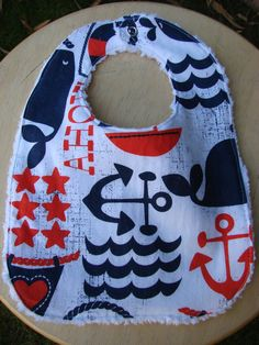Reversible Baby Bib Nautical