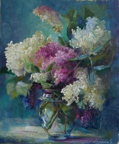 "lilac, сирень, цветы, Екатерина Нешкова,  Ekaterina Neshkova Art,  картина ""Белая сирень"",  холст, масло."