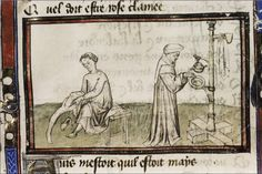 Image from a folio of Le roman de la rose, showing a man putting on hose and washing his hands using a ewer, bowl and towel combination hanging on a kind of wooden rack.  In the Bodleian Library.