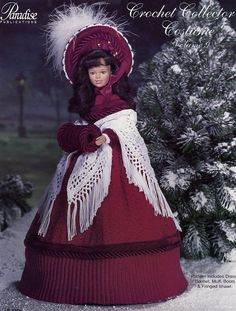 1850 Dickens Christmas Caroler Outfit for Barbie Paradise #9 Crochet Pattern #ParadisePublications #DollOutfit