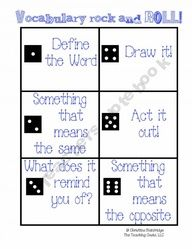 fun vocabulary review idea to do with a partner/group...lots of other word work ideas too!