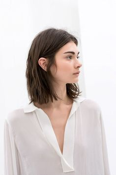 effortless long bob, bold brows, elfin features & white silk top #hair #beauty #lob