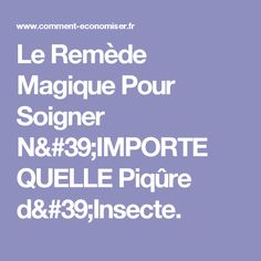 Le Remède Magique Pour Soigner N'IMPORTE QUELLE Piqûre d'Insecte.