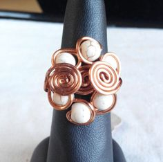 copper wire ring with natural howlite. made in Ireland. by terramor on Etsy Wire Rings, Copper Wire, Ireland, Cufflinks, Trending Outfits, Natural, Unique Jewelry, Handmade Gifts, How To Make