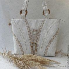Купить Летняя светлая сумка Эльза. Лен с вискозой. - лен, льняная сумка, текстильная сумка