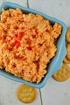 This delicious Pimento Cheese Dip from Gonna Want Seconds combines Pimentos, cheese, onion, garlic, and hot sauce for a dip that will be the star of your next get together.