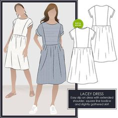 Womens dress PDF sewing pattern by Style Arc for instant download in sizes 10, 12 and 14. See size chart in the Gallery to choose your correct size! Sizes 4 - 30 are available in our store. Other sizes available here... www.etsy.com/shop/StyleArc/search?search_query=lacey+dress  *** 23 - 24 pattern tiles to print *** *** Print on A4 or US Letter size paper ***  Slip into this fabulous easy to make and wear Lacey Dress that can be made in a knit or a woven. Sitting on the w...