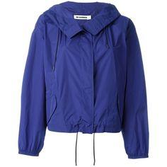 Jil Sander Hooded Windbreaker Jacket ($1,289) ❤ liked on Polyvore featuring activewear, activewear jackets, blue and jil sander