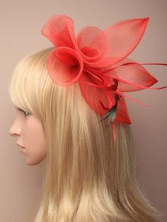 Red Fascinator with mesh flower and feather