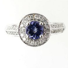 0.25 ct. Diamond and  0.70 ct. t.w. Tanzanite Ring
