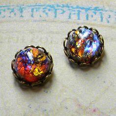 Dragons Breath  Earrings Stud Earrings   Fire Opal by Msemrick, $18.00