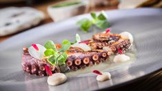 Grilled Octopus. Josefina López Mendez, chef of the Chapulín restaurant in Mexico City paired Tequila Casa Dragones Joven with a grilled octopus, bean puree and onion sauce with a infused garlic corn leaf.