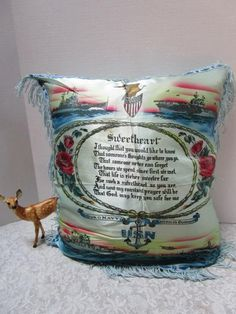 Vintage WWII United States Army Sweetheart Poem Pink Blue Fringed Satin Souvenir Pillow Cover