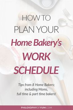 Learn how to plan your Home Bakery's weekly work schedule for optimal efficiency and profit, without burning out or neglecting your family 🙂 Includes input from 8 different Home Bakery owners! Home Bakery Business, Baking Business, Cake Business, Business Ideas, Business Planner, Catering Business, Business Branding, Business Opportunities, Bakery Names