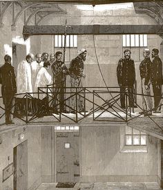 The November 1880 Australasian Sketcher drawing of the execution shows Ned Kelly with his arms strapped behind his back and the hood ready to be drawn over his face walking towards the hangman Elijah Upjohn.