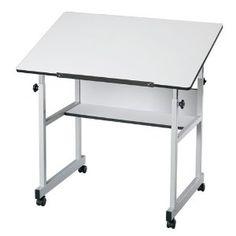 Amazon.com: MiniMaster FourPost White Drafting Table Cherry Woodgrain Top/Black Base: Office Products