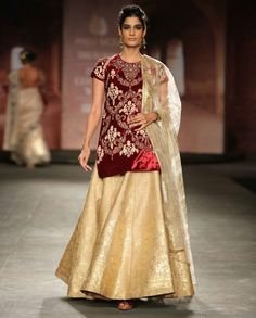 Embroidered Ivory and Maroon Lengha Set