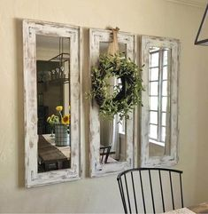 Shabby Chic Mirror Repurposed Cabinet Door
