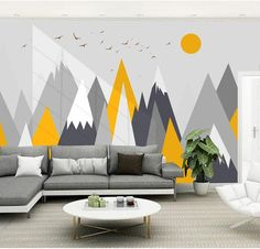 Simple Triangle Geometric Mountains Wallpaper , Modern Geometric Mountains with . Simple Triangle Geometric Mountains Wallpaper , Modern Geometric Mountains with Flying Birds and Sun Nursery Kids Wall Murals This image has get 1 rep. Kids Wallpaper, Custom Wallpaper, Wall Wallpaper, Nursery Wall Decor, Bedroom Wall, Bedroom Decor, Kids Wall Murals, Art Mural, Geometric Mountain Wallpaper