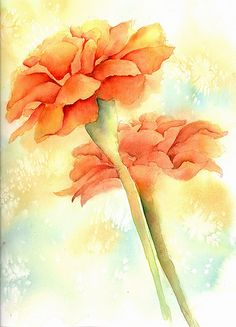 Watercolor marigold (Oct flower) for Orianna