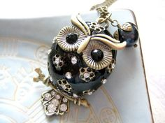 Owl Necklace  Antique Bronze Style Black Owl by iceblues on Etsy, $26.00