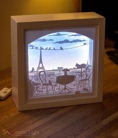 The Balcony, Shadowbox, Diorama, Light box, Paperart - boite Shadow Box Kunst, Shadow Box Art, Paper Cutting, Craft Room Lighting, Licht Box, Diy And Crafts, Paper Crafts, Paper Art, Art Projects