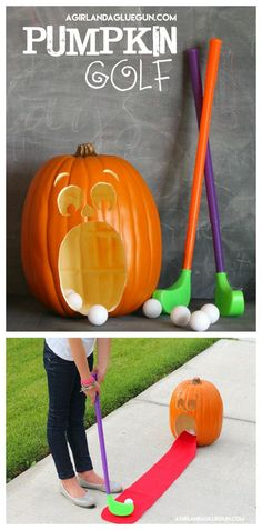 Hi! I'm Kimbo from a girl and a glue gun! I'm here today with a super fun activity…Pumpkin Golf! It is totally perfect for classroom parties at school, trunk or treat game, or just because you need to