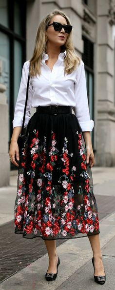 Click for outfit details! // black floral embroidered midi skirt with waist belt, non-iron white button down, black manolo blahnik hangisi pumps, saint laurent shoulder bag, oversized cat eye sunglasses {Maje, ysl, uniqlo, manolo blahnik, classic style, workwear, office attire, fashion blogger}