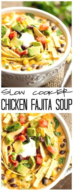 4 Points About Vintage And Standard Elizabethan Cooking Recipes! This Slow Cooker Chicken Fajita Soup Takes 5 Minutes To Throw Into The Crockpot And Will Be The Best And Creamiest Chicken Fajita Soup You Will Ever Have Click Through For Recipe Fajita Soup Recipe, Chicken Fajita Soup, Rotisserie Chicken, Healthy Chicken Soup, Chipotle Chicken, Slow Cooker Huhn, Slow Cooker Soup, Healthy Diet Recipes, Healthy Soup Recipes