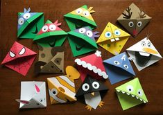 page corner character bookmarks Kids Crafts Bookmark Craft, Bookmarks Kids, Corner Bookmarks, Origami Bookmark Corner, Handmade Bookmarks, Origami Monster Bookmark, Bookmark Ideas, Diy And Crafts, Craft Projects