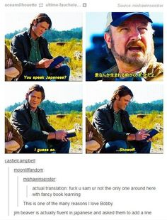 Bobby Singer Supernatural -- more proof that you can say whatever you want in another language and it gets by the censors.