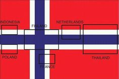 Flags hidden in the Norwegian flag.