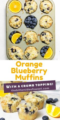 The best Orange Blueberry Muffins! So tender and moist, with a buttery crumb topping! Made with fresh blueberries and oranges!   The Bitter Side of Sweet Egg Recipes For Breakfast, Breakfast Bake, Sweet Breakfast, Breakfast Dishes, Delicious Desserts, Yummy Food, Homemade Muffins, Cupcake Flavors, Sweet Recipes