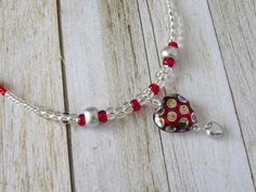 DIY Necklace Kit Easy Peacock Bead Red QHN2 by mygemstoneboutique