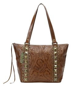 American West Antique Brown Globe Trotter Leather Tote by American West #zulily #zulilyfinds