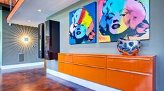 Marilyn Monroe Pop Art with orange pop of color! Designed by Cantoni...  Read about the McElroy Porject here: http://cantoni.com/updates/news/enewsletter-218-dream-home-come-true/#.UmW29ULCDTk